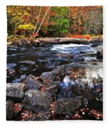 Fall Forest And River Landscape Fleece Blanket
