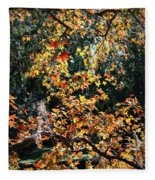 Fall Leaves Over Florida Pond Fleece Blanket