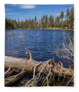 Fall Logs On Reflection Lake Fleece Blanket