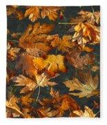 Fall Maple Leaves On Water Fleece Blanket