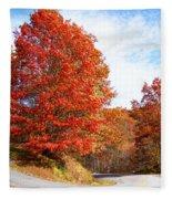 Fall Tree By The Road Fleece Blanket