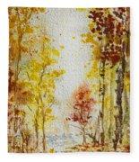 Fall Tree In Autumn Forest  Fleece Blanket