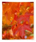 Fall Tree Leaves Art Prints Orange Red Autumn Fleece Blanket
