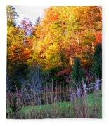 Fall Trees And Fence Fleece Blanket