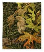 Fallen Autumn Leaves On The Shore Of Hall Lake Fleece Blanket