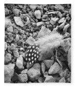 Fallen Feathers Black And White Fleece Blanket