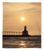 Falling On The Lighthouse Fleece Blanket