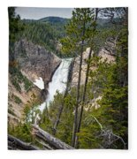 Falls In The Grand Canyon Of Yellowstone Fleece Blanket