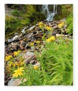 Falls To The Flowers Fleece Blanket
