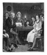 Family Reading, 1840 Fleece Blanket
