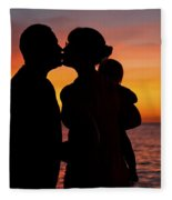 Family Silhouettes At Sunset Fleece Blanket