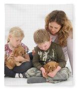 Family With Cockerpoo Pups Fleece Blanket