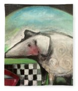 Fancy Dog At Picnic With Water Dish Fleece Blanket