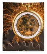Fancy Pocketwatch On Gears Fleece Blanket