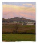Farm Scene From Knoll On Rt. 41  Fleece Blanket