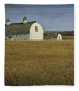 Farm Scene With White Barn Fleece Blanket
