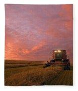 Farmer Harvesting Oat Crop Fleece Blanket