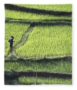 Farmer In Rice Paddy, Elevated View Fleece Blanket