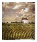 Farmhouse And Cornfield Fleece Blanket