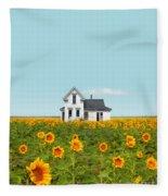 Farmhouse In A Field Of Sunflowers Fleece Blanket