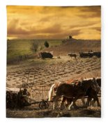 Farming Rain Race Fleece Blanket