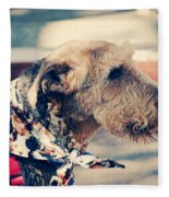 Airedale On The Fashion Runway Fleece Blanket