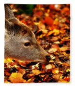 Fawn In Autumn Fleece Blanket