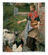 Feeding The Chickens Fleece Blanket