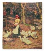 Feeding The Ducks Fleece Blanket