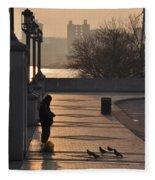 Feeding The Pigeons At Dawn Fleece Blanket