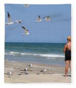 Feeding The Sea Gulls Fleece Blanket