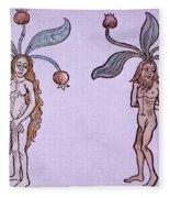 Female And Male Mandrake, Alchemy Plant Fleece Blanket