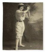 Female Baseball Player Fleece Blanket