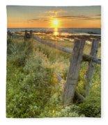 Fence Along The Shore Fleece Blanket