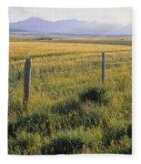 Fence And Barley Crop, Near Waterton Fleece Blanket