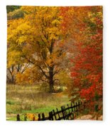 Fence In Autumn Fleece Blanket