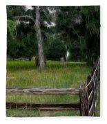 Fenced In Field Fleece Blanket