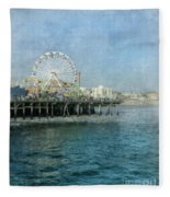 Ferris Wheel On The Santa Monica Pier Fleece Blanket