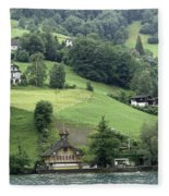 Few Houses On The Slope Of Mountain Next To Lake Lucerne Fleece Blanket