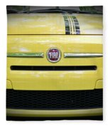Fiat 500 Yellow With Racing Stripe Fleece Blanket