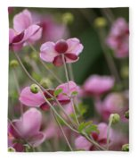 Field Of Japanese Anemones Fleece Blanket