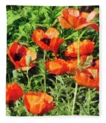 Field Of Red Poppies Fleece Blanket