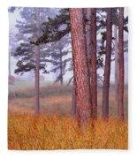 Field Pines And Fog In Shannon County Missouri Fleece Blanket