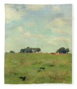 Field With Trees And Sky Fleece Blanket
