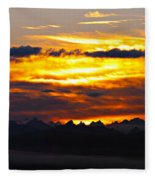 Fiery Sunrise Over The Cascade Mountains Fleece Blanket
