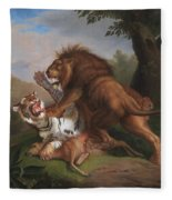 Fight Of A Lion With A Tige Fleece Blanket