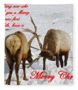 Fighting Over Wishing You A Merry Christmas Fleece Blanket