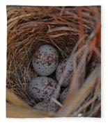 Finch Nest With Eggs  Fleece Blanket