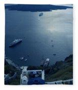 Fira Town View Santorini Fleece Blanket