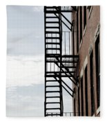 Fire Escape In Boston Fleece Blanket